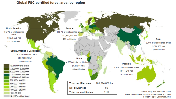 Global map of FSC certification